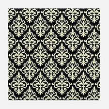 Cream & Black Damask 41 Tile Coaster