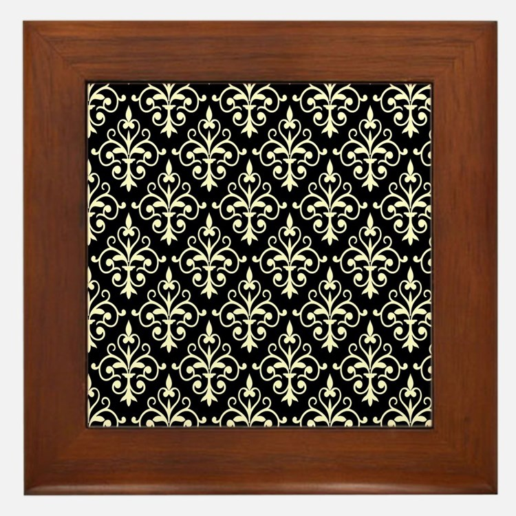 Cream & Black Damask 41 Framed Tile