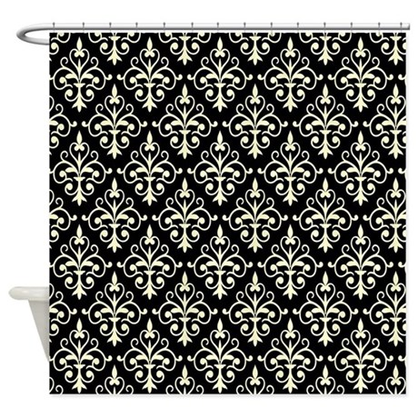 Cream Black Damask 41 Shower Curtain By Dpeagreendesigns