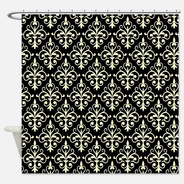 Cream   Black Damask 41 Shower CurtainBlack Cream Shower Curtains   Black Cream Fabric Shower Curtain Liner. Black And Cream Shower Curtain. Home Design Ideas