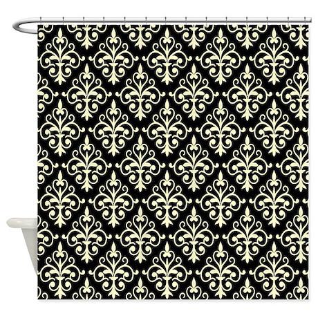 Cream U0026 Black Damask 41 Shower Curtain