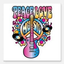 "Peace Love & Music Square Car Magnet 3"" x 3"""
