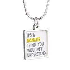 Its A Manatee Thing Silver Square Necklace
