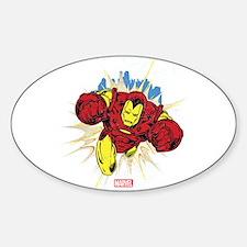 Grunge Iron Man Sticker (Oval)
