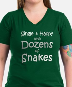 Single & Happy With Snakes Women's V-Neck T-Sh