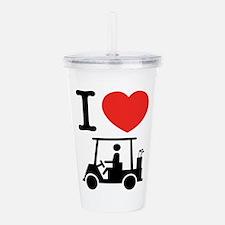 I Heart (Love) Golf Cart Acrylic Double-wall Tumbl