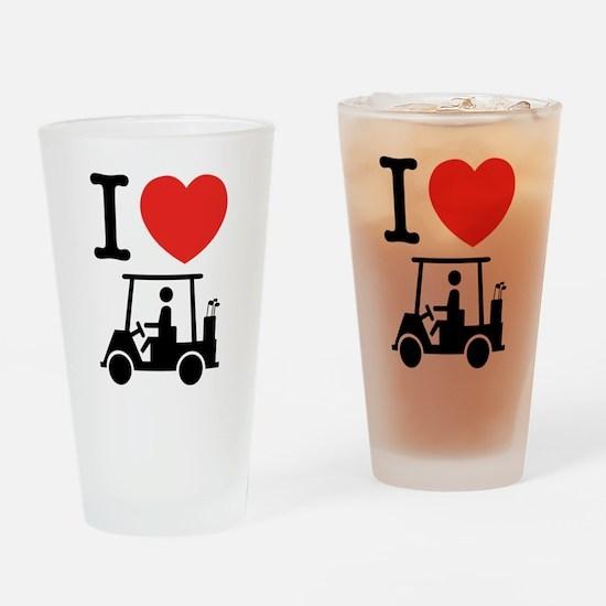 I Heart (Love) Golf Cart Drinking Glass