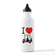 I Heart (Love) Golf Cart Sports Water Bottle