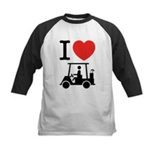 I Heart (Love) Golf Cart Baseball Jersey