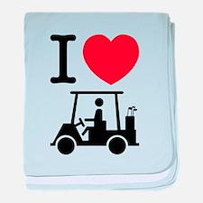 I Heart (Love) Golf Cart baby blanket