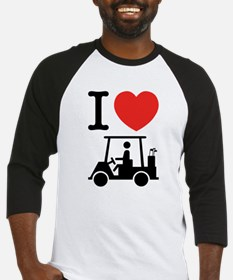 I Heart (Love) Golf Cart Baseball Jersey