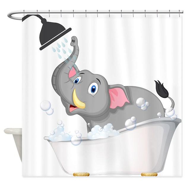 Cute Elephant In Bubble Bath Shower Curtain By Getyergoat