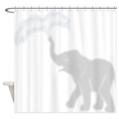 Adorable Baby Elephant Playing Shower Curtain