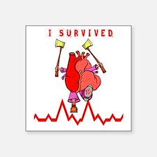 "Funny I survived brain surgery Square Sticker 3"" x 3"""