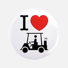 """I Heart (Love) Golf Cart 3.5"""" Button"""