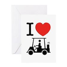 I Heart (Love) Golf Cart Greeting Cards