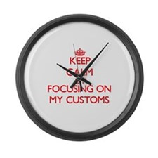 Keep Calm by focusing on My Custo Large Wall Clock