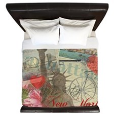 Vintage New York City Statue of Liberty King Duvet