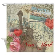 Vintage New York City Statue of Liberty Shower Cur