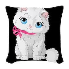 White Puffy Kitty ~ Woven Throw Pillow