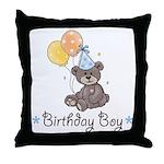 Birthday Boy Party Bear Throw Pillow