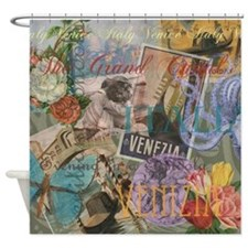 Venice Trendy Italian Travel Collage Shower Curtai