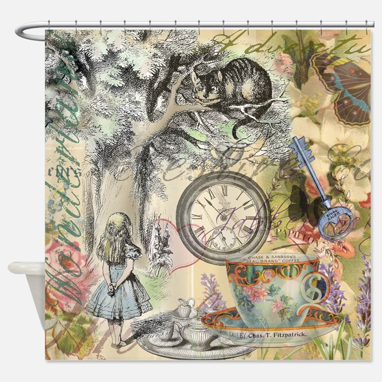 Cheshire Cat Alice in Wonderland Shower Curtain. Alice In Wonderland Bathroom Accessories   Decor   CafePress