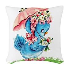 Little Miss Duckie ~ Woven Throw Pillow