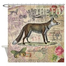 Fox Vintage Animal Foxy Gift Shower Curtain