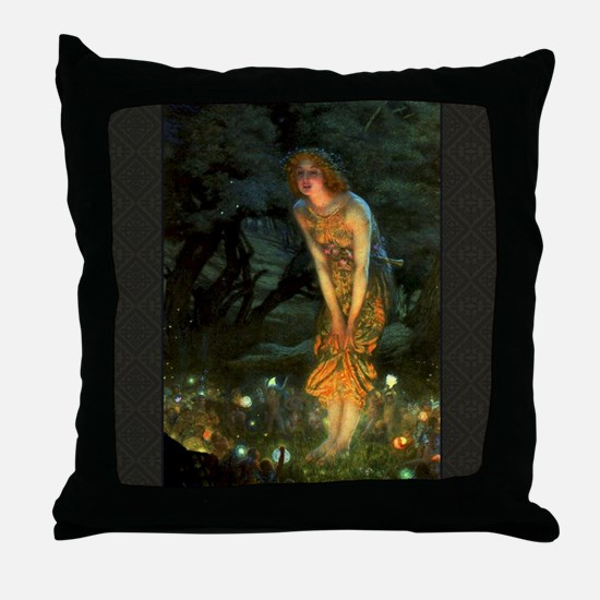Fairy Circle Fairies Midsummer Eve Throw Pillow