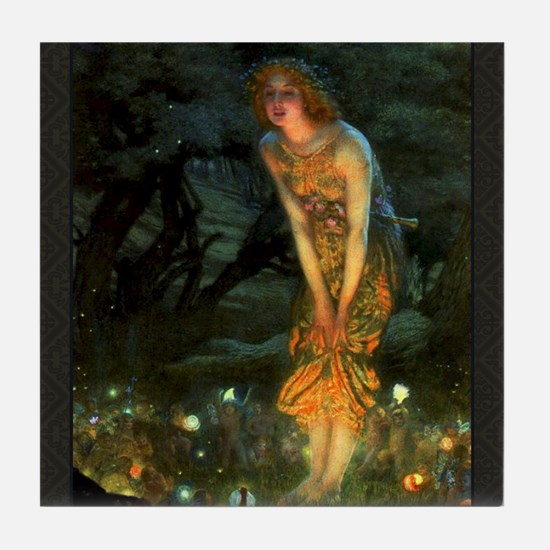 Fairy Circle Fairies Midsummer Eve Tile Coaster
