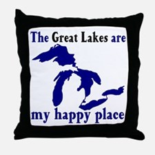 Great Lakes Happy Place Throw Pillow