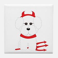 Bichon Frise Devil Tile Coaster