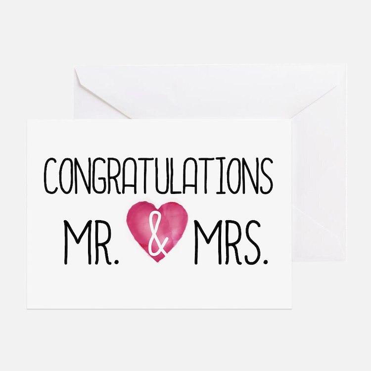 Wedding Congrats Mr & Mrs Greeting Cards