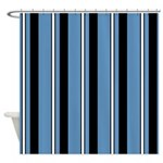 Sharp Blue And Black Striped Shower Curtain