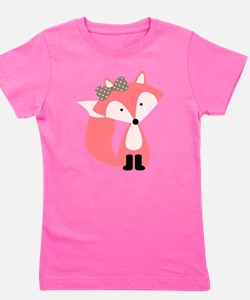 Cute Pink Fox Girl's Tee