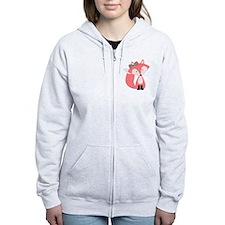 Cute Pink Fox Zip Hoodie