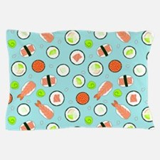 Cute Cartoon Sushi Pattern Blue Pillow Case