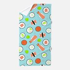 Cute Cartoon Sushi Pattern Blue Beach Towel