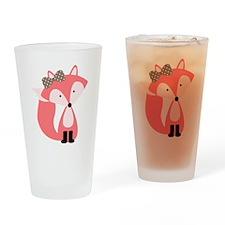 Cute Pink Fox Drinking Glass
