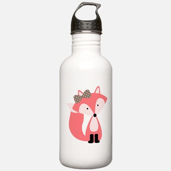 Cute Pink Fox Water Bottle