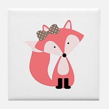 Cute Pink Fox Tile Coaster