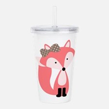 Cute Pink Fox Acrylic Double-wall Tumbler