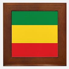 Green, Gold and Red Flag Framed Tile