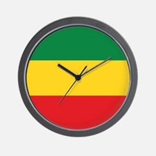 Green, Gold and Red Flag Wall Clock