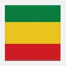 Green, Gold and Red Flag Tile Coaster