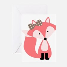 Cute Pink Fox Greeting Cards