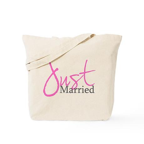 Just Married (Pink Script) Tote Bag