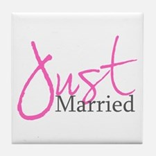 Just Married (Pink Script) Tile Coaster