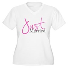 Just Married (Pink Script) T-Shirt